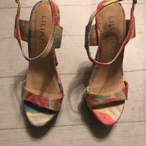 Liliana Women's Multi- Colored Heels Size 5.5
